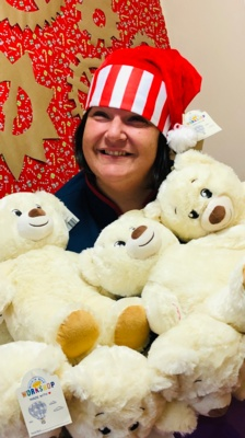 Nicola Lewis with WellChild bears