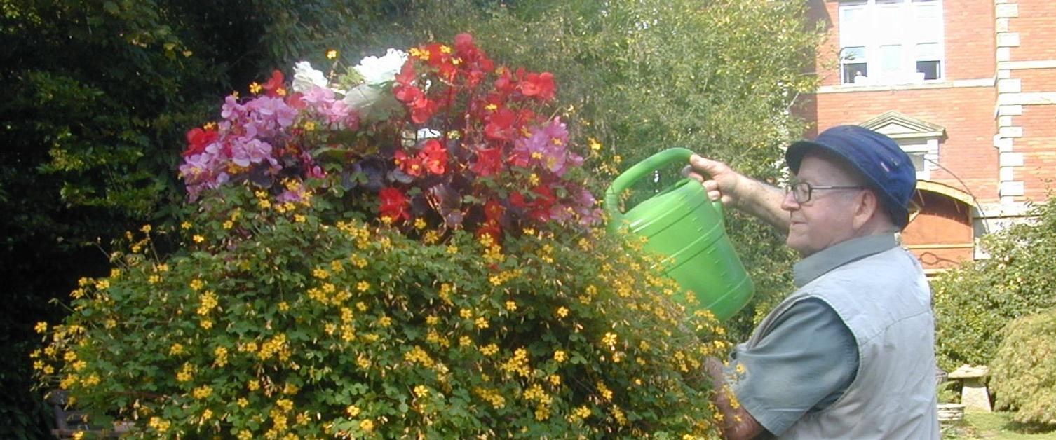 A man waters flowers in the garden