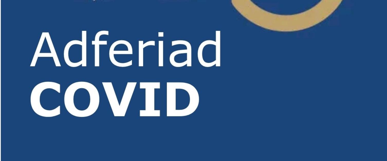 Llun o logo ap newydd adferiad Covid
