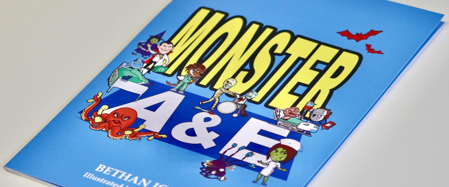 Llun o glawr y llyfr 'Monster A&E'