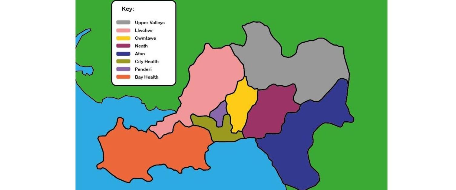Map o holl glystyrau Bae Abertawe