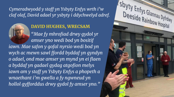 Graphic of patient leaving ysybyty enfys deeside Cym