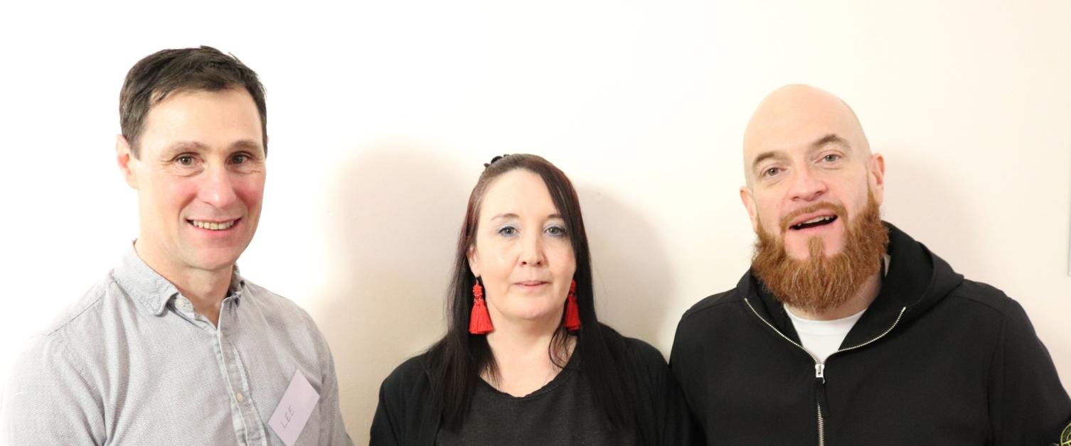 Dr Lee Hogan with Saffron Roberts and James Deakin
