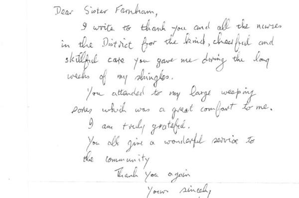 Compliment via letter, August 18