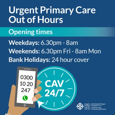 A list of the Urgent Primary Care Out of Hours times