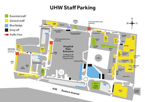 Staff parking spaces in UHW
