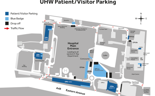 Visitor parking spaces in UHW