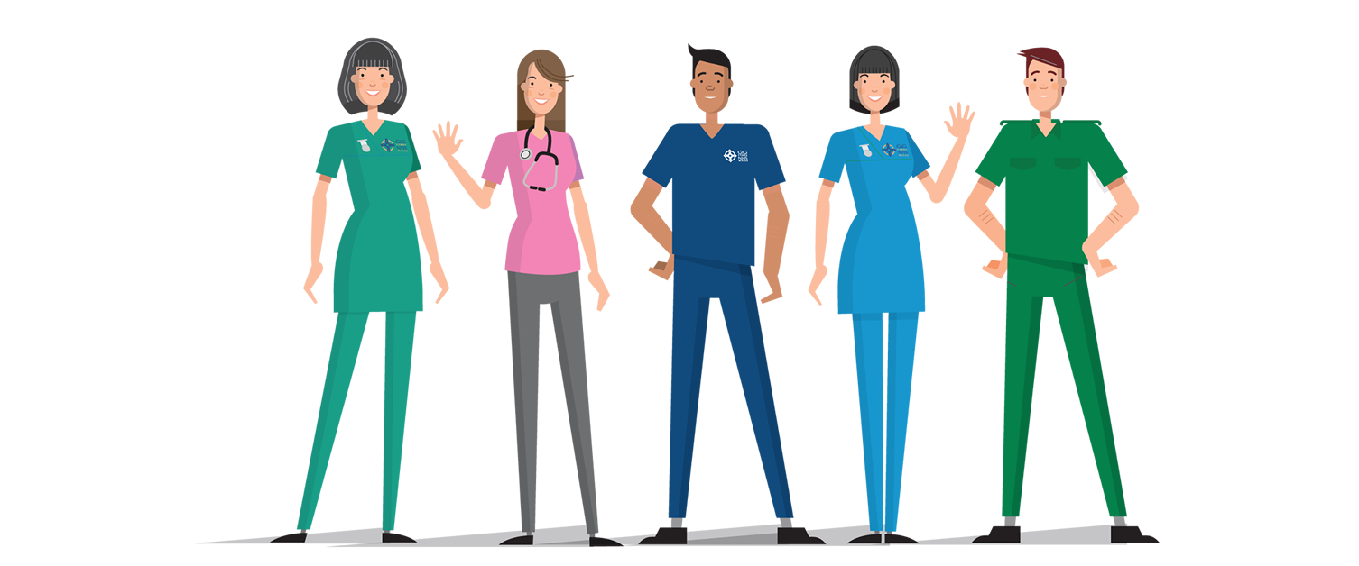 Cartoon image or NHS nurses, doctors, consultants and health workers