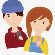 Cartoon Image of two young people with their mobiles