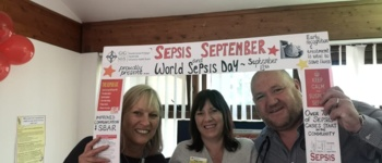 Employees celebrating world sepsis day