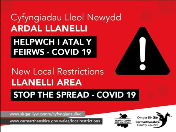 New local restrictions Llanelli area to stop the spread of COVID-19