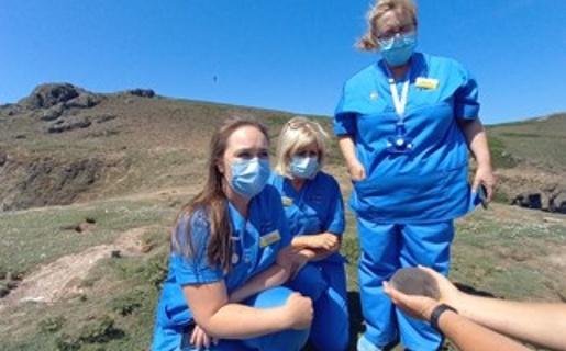 Hywel Dda nurses on Skomer Island