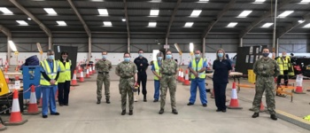 Military team at the Carmarthen vaccination centre