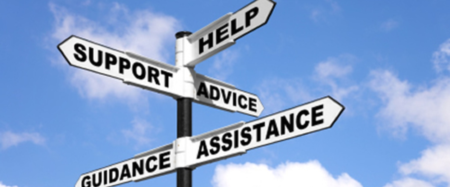 Multiway sign - advice, assistance, guidance, support and help