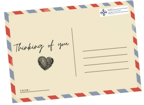 Postcard with thinking of you written on it