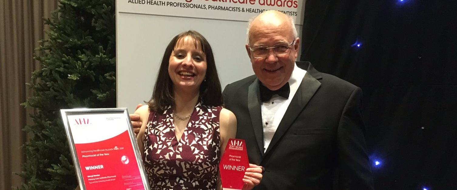Meryl Davies collecting her award