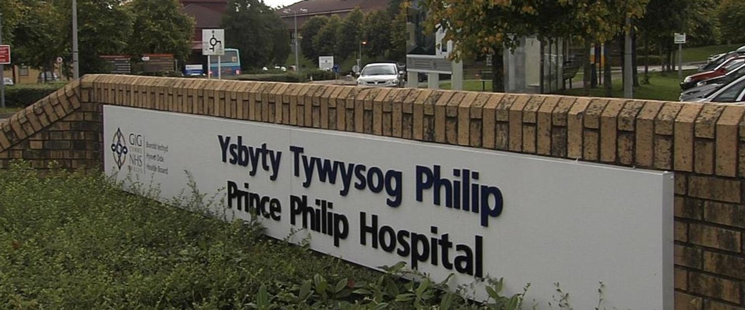 Arwydd Ysbyty'r Tywysog Philip