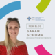 Image of Sarah Schuum wearing a red top with sunglasses on her head. To her right is the HEIW logo, 'new blog', 'Sarah Schuum' and '#DisabilityHistoryMonth'