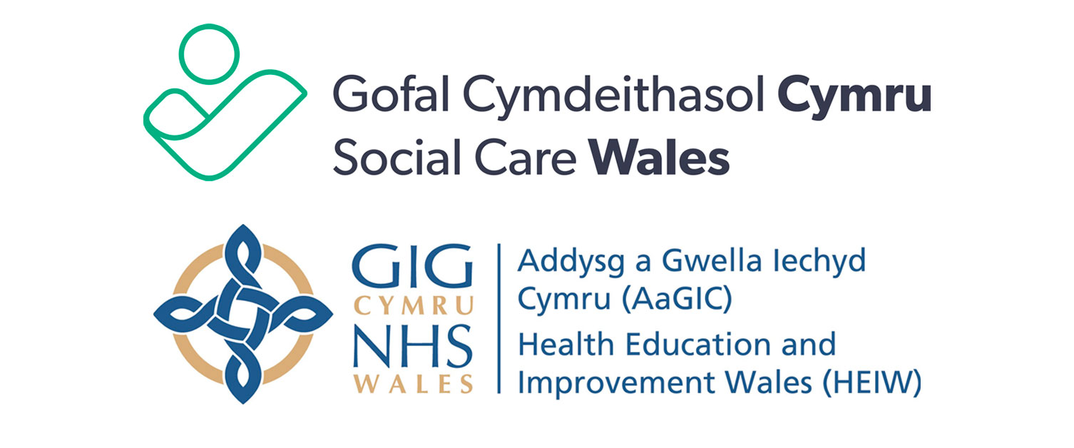 Social Care Wales and HEIW logos