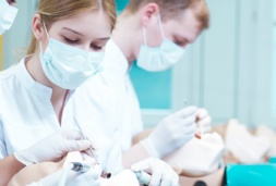 Dentists training with mannequins