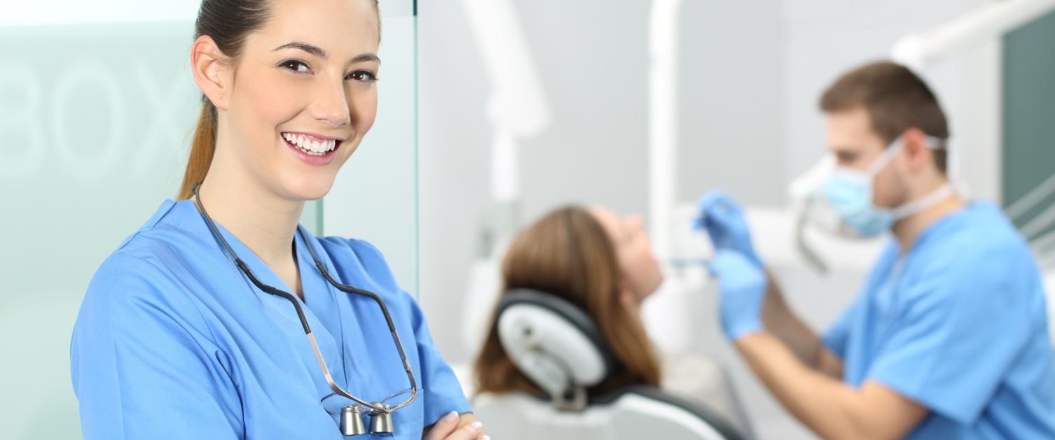 Dentist smiling