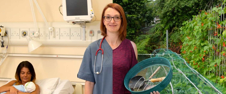 Split nurse half Doctor, half gardener