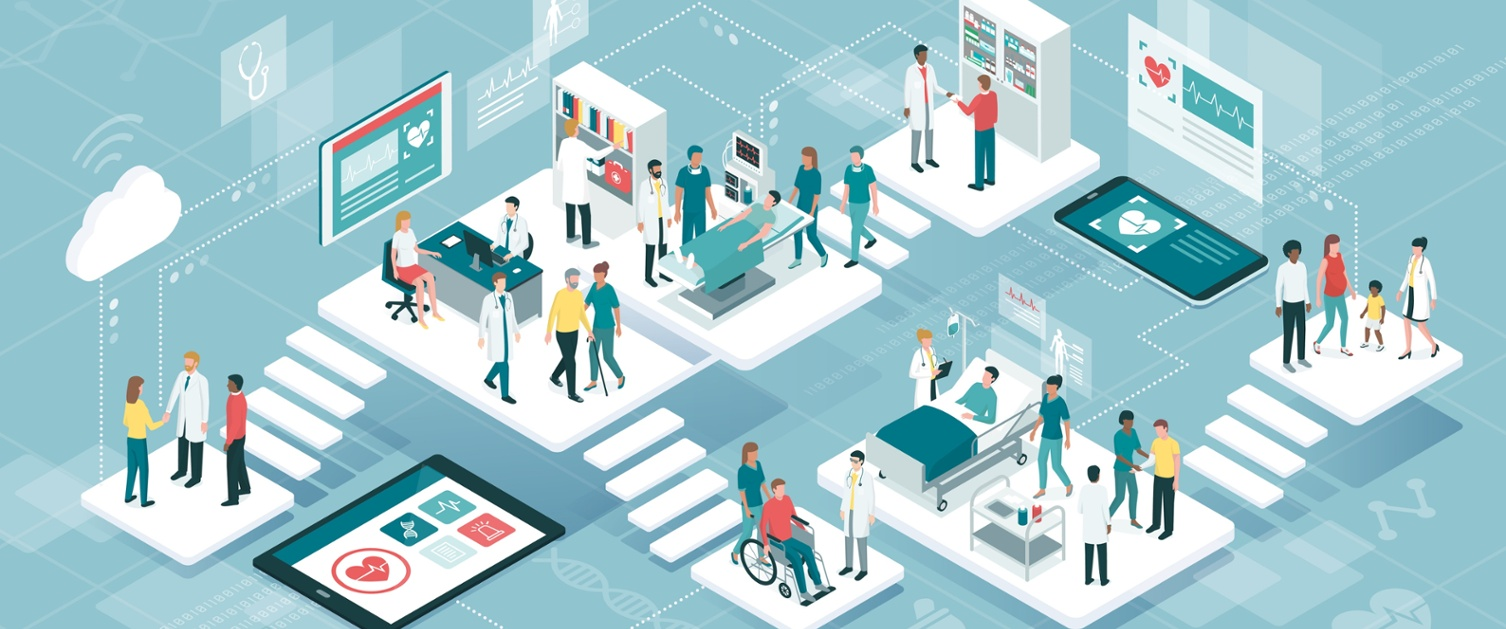 A cartoon of lots of people visiting different healthcare stations