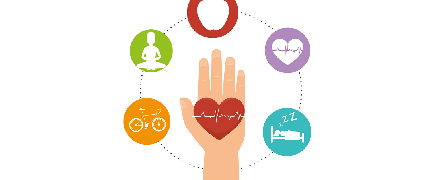 A graphic of a hand with numerous health benefits surrounding it