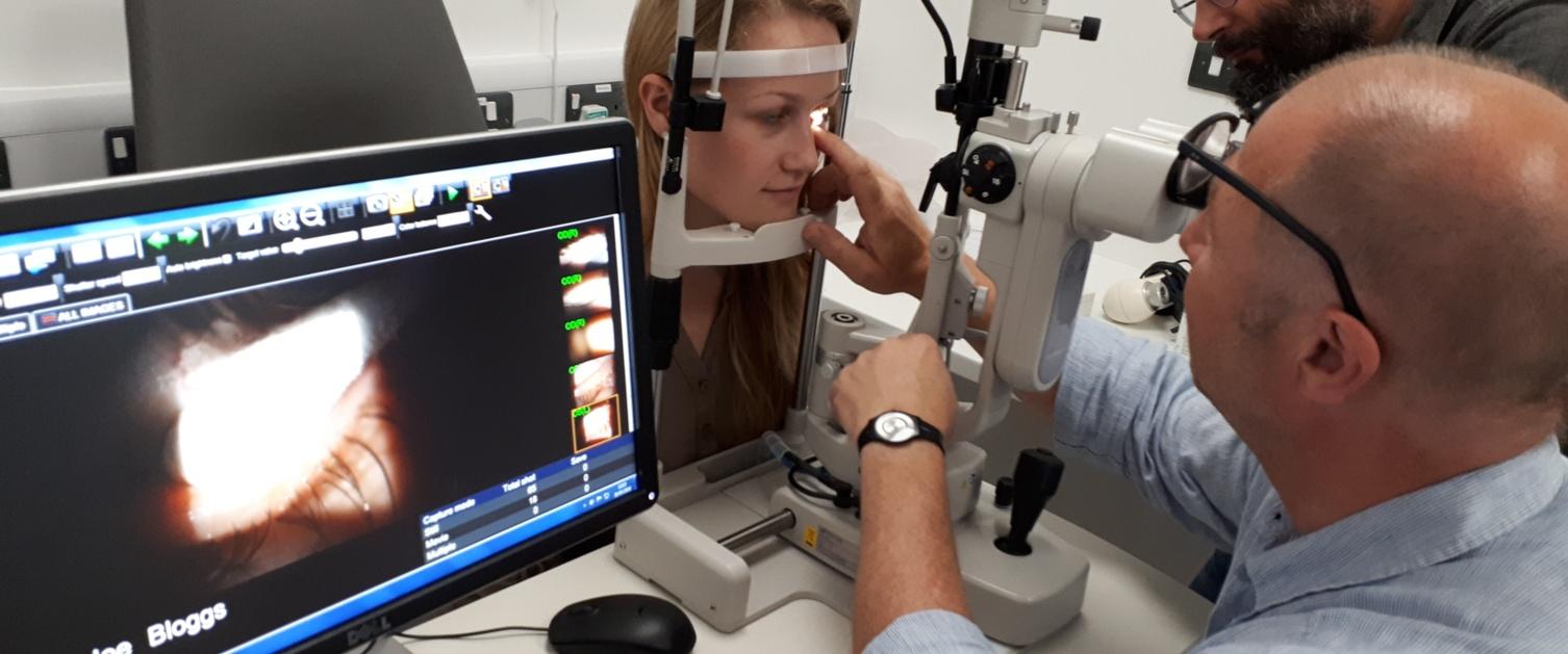 Lady undertaking an optometry test