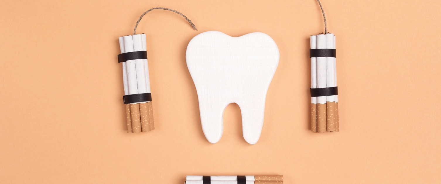 Abstraction of cigarettes damaging the teeth