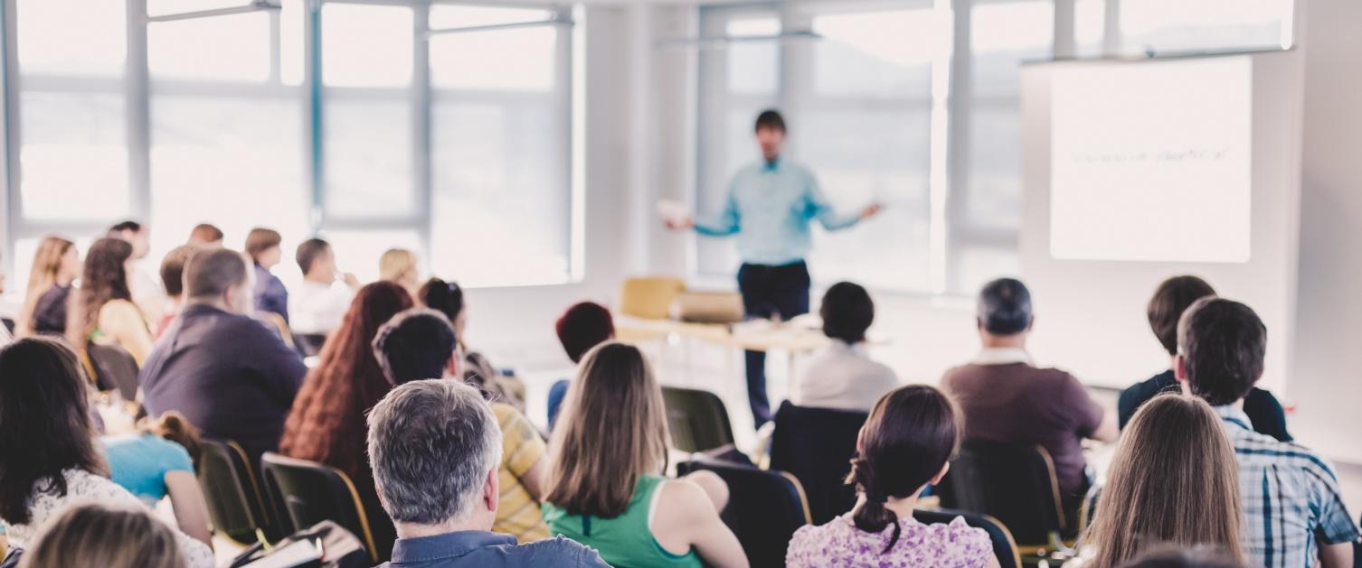 Man mentoring class