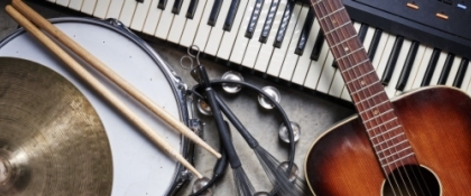 Top view of musical instruments