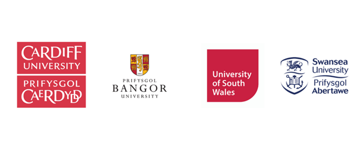 Logos of 4 different universities in Wales