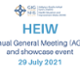 Graphic reading HEIW AGM and showcase event 29 July 2021