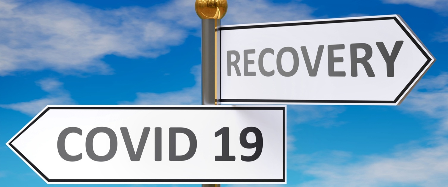 Signs with COVID 19 and RECOVERY labels