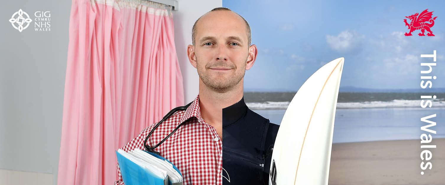Split doctor half Doctor, half surfer
