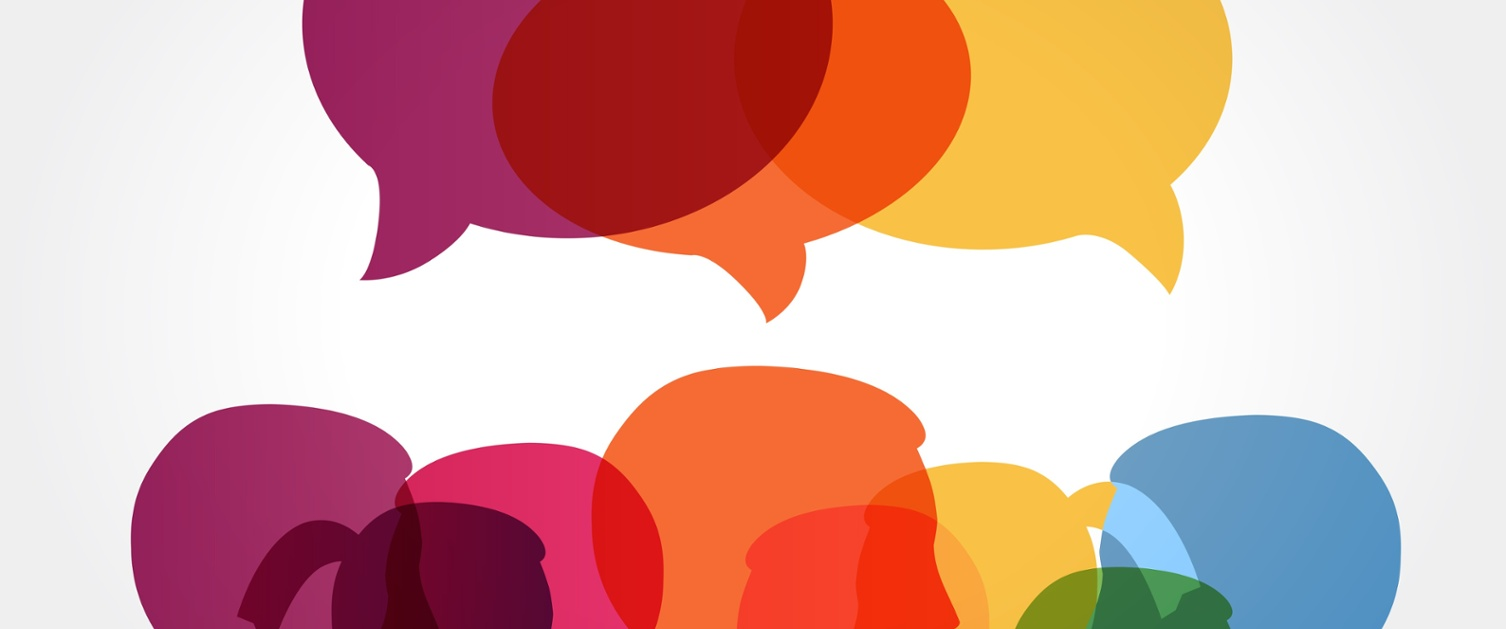 A group of colourful heads and speech bubbles