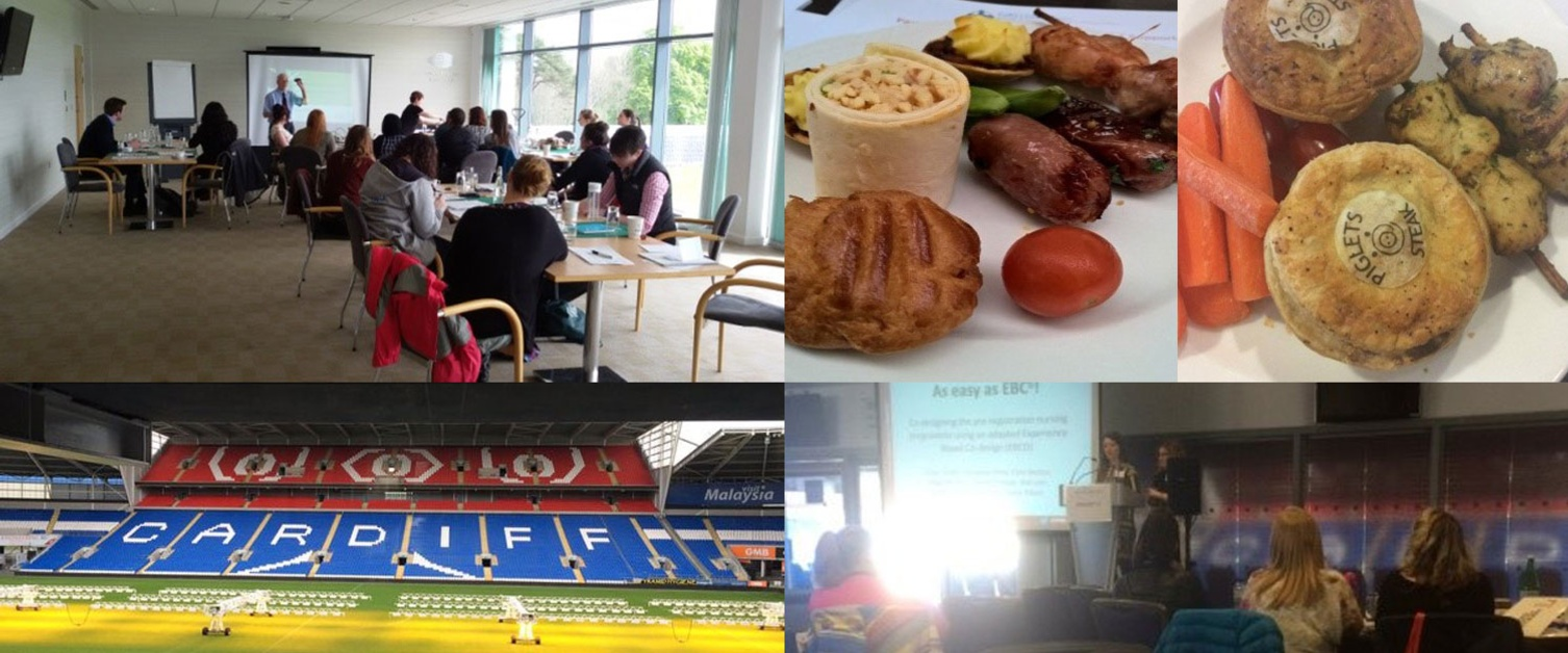 Collage of images showing food, football pitch and students