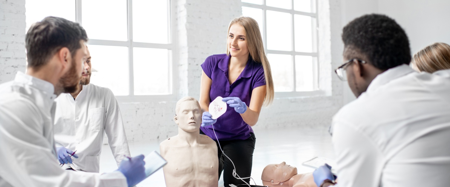 People training for CPR