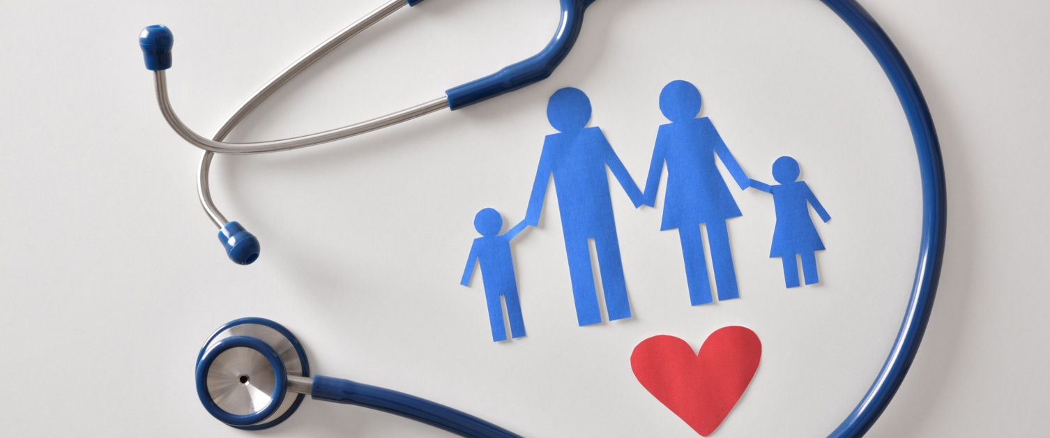 Stethoscope surrounding a family