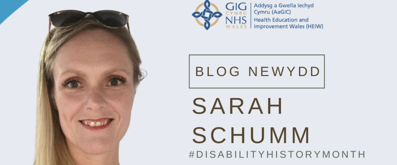 Sarah Schuum wearing a red top with sunglasses on her head. To her right is the HEIW logo, 'new blog', 'Sarah Schuum' and '#DisabilityHistoryMonth'