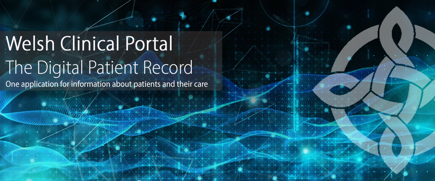 Welsh Clinical Portal strapline on blue digital theme background with celtic knot logo overlayed