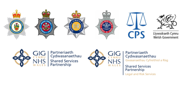 Noth, South, Gwent and Powys police, CPS Welsh Government, NHS Wales, NWSSP nad NWSSP Legal and Rsik Services logos.