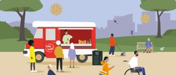 Cartoon with scene of busy park with lots of people including a mobile coffee shop, a gentleman walking a dog, an elderly lady sat on a bench and a gentleman in a wheelchair.