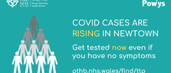 Text graphic:COVID cases are rising in Newtown. Get tested now even if you have no symptoms.