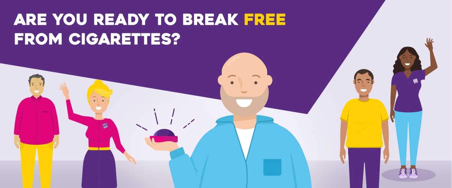 Cartoon graphic - four people with text - are you ready to break free from cigarettes?