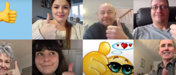 A collage of photos with people with their thumbs up