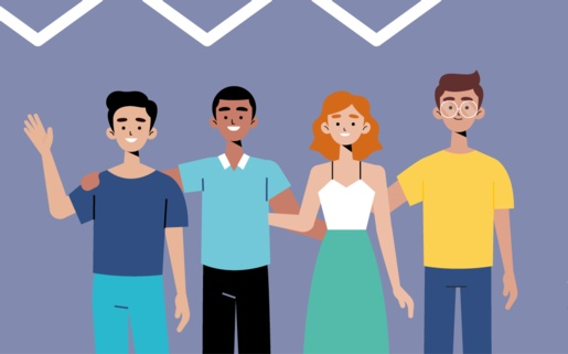 Illustration of people from different backgrounds arm in arm