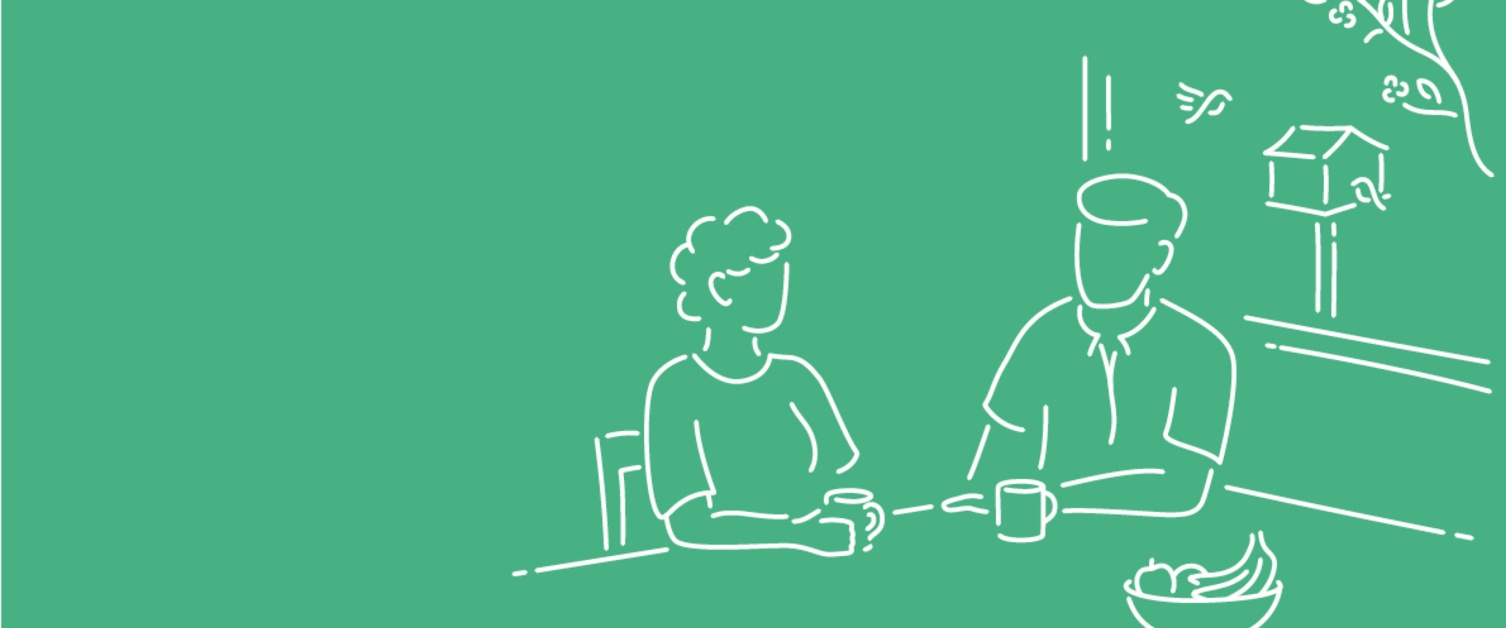 Illustration of a man and woman sat at a dining table having a cuppa