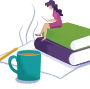 Break (sitting on books)